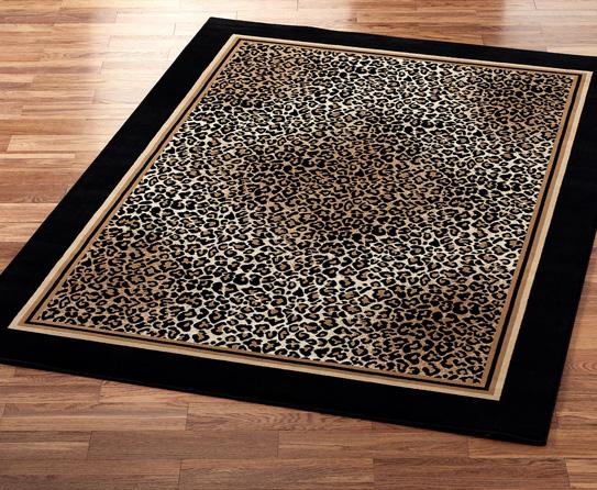Black Border Leopard Print Rugs