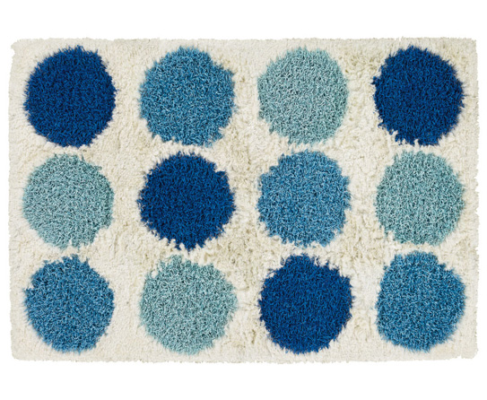 Ivory And Blue Multicolor Shag Area Rugs.