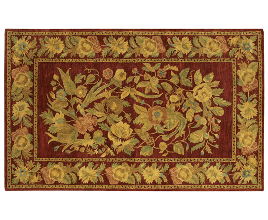 Transitional rugs that blend with your home interiors for Red and gold area rugs