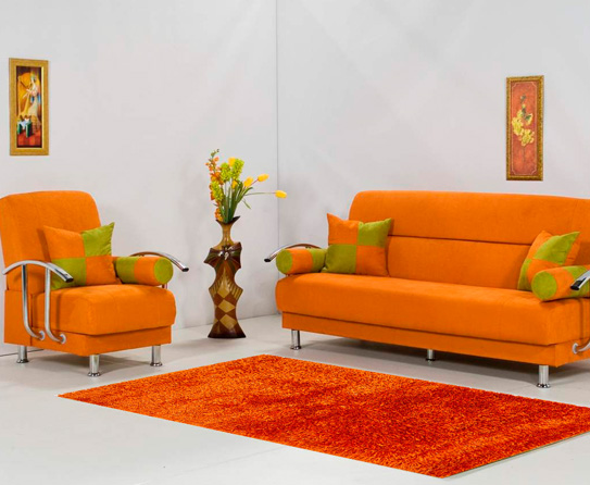 Rugs that match contemporary orange living rooms - Colorful rugs for living room ...