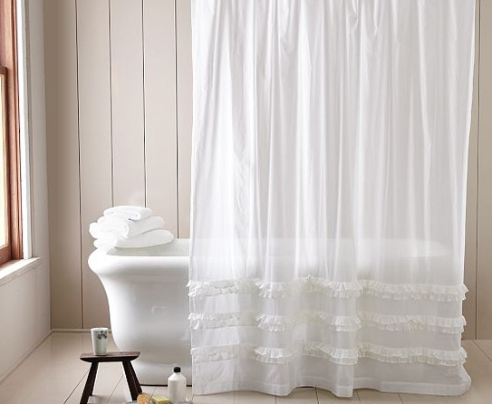 white ruffle shower curtain in shower curtains