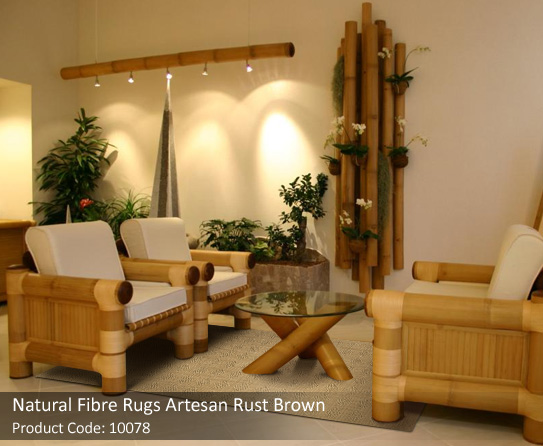 Natural looking home interiors for Bamboo living room furniture