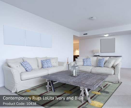 Ivory and blue rug 5