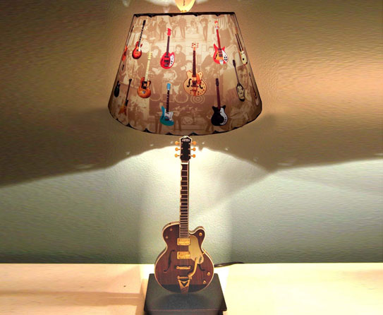 Rock and roll with guitar home decor the bridge of the guitar can be recycled into lampshade these lamps will look cool in the bedroom on the nightstand aloadofball Images