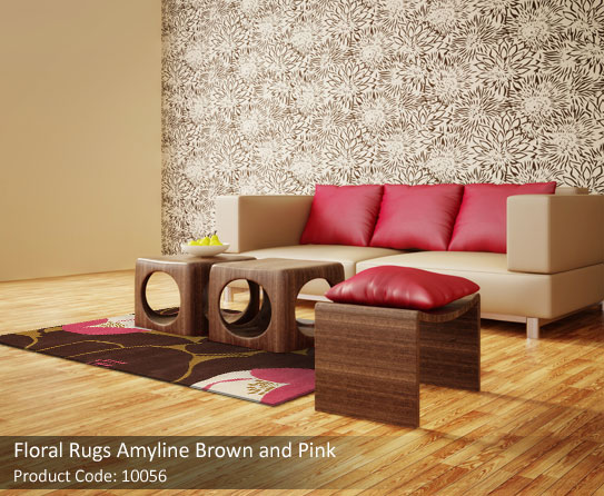 pink and brown floral rug1