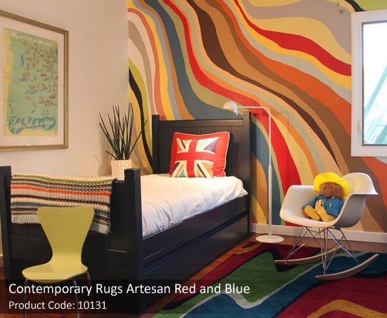 3 Modern Red green yellow rugs