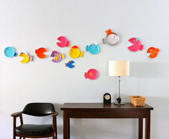 Leap of colorful fishes as home decor ideas for Home decor ideas from recycled materials