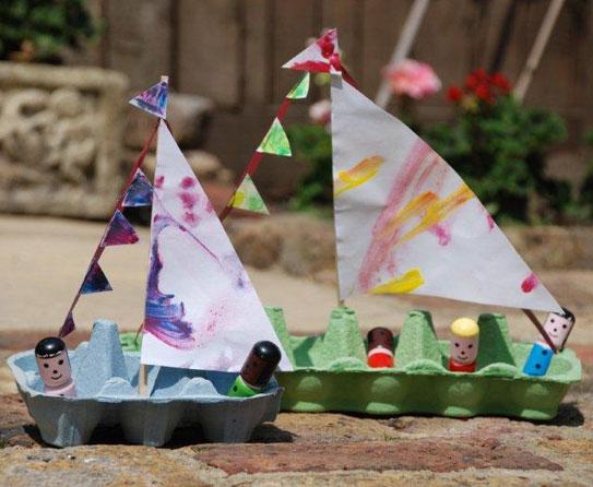 Egg Carton Boats 7