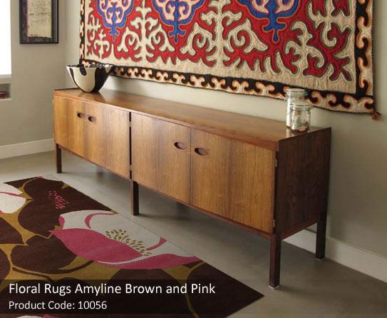 Floral rug brown pink4