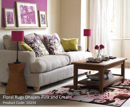 Floral rug pink cream5