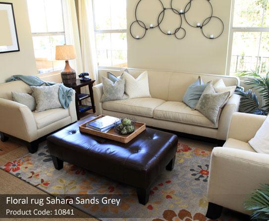 Grey Floral rug7