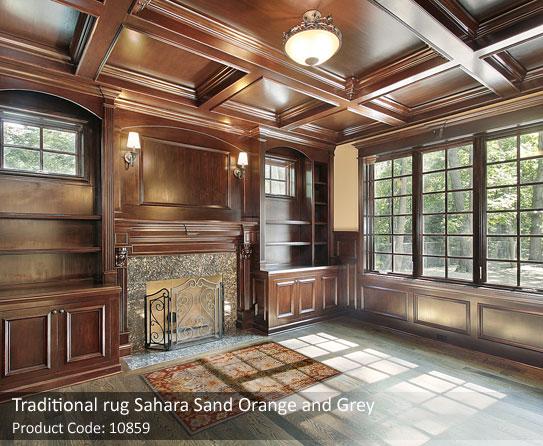 Traditional orange grey rug 3