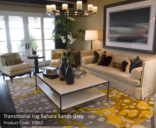 Transitional sand grey rug 1