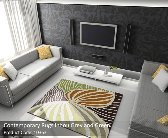 Contemporary rug grey green 4