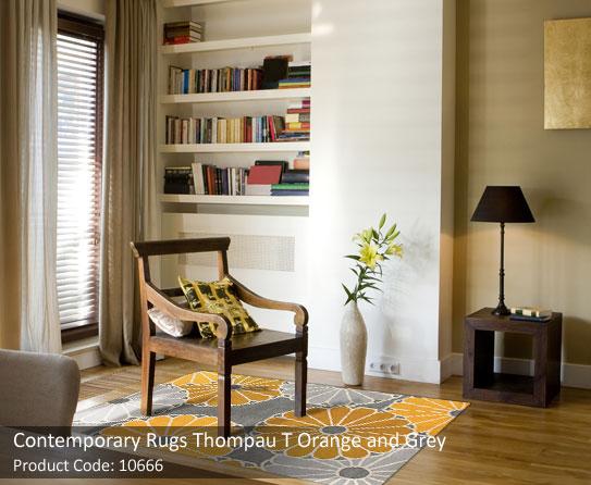 Contemporary rug orange grey 1