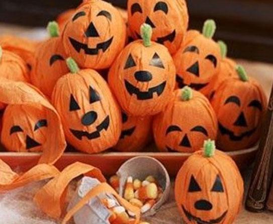 Pumpkin Crepe Paper Crafts 6