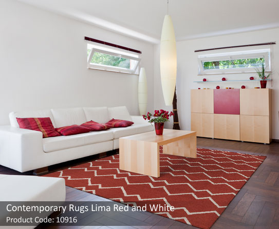 Contemporary rugs red and white 3