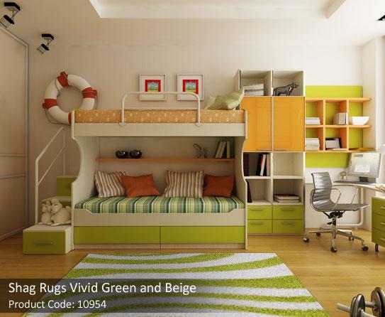 Shag rugs green beige 5