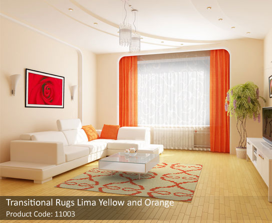 Transitional rugs yellow and orange 1