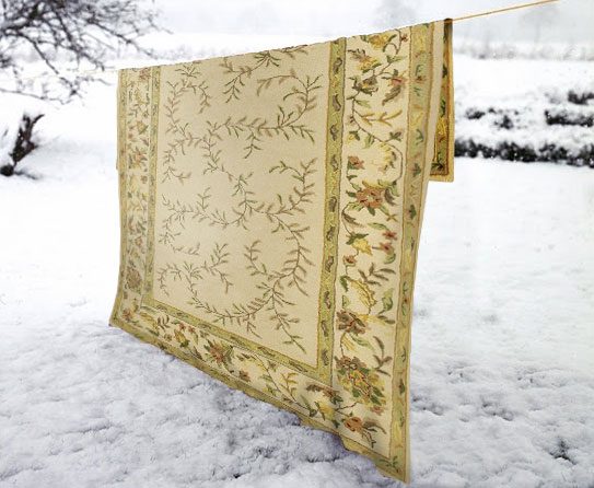 how to clean a wool rug in the snow