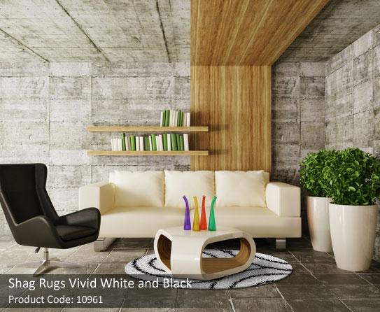 Shag white and black round rugs 7