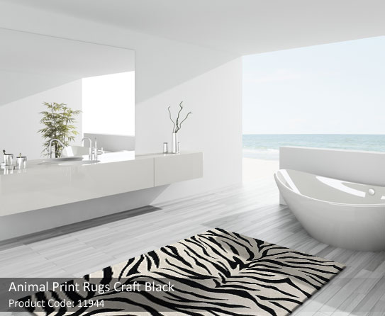 White-black-animal-print-rug